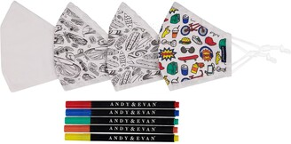 Andy & Evan Assorted 4-Pack Youth Coloring Face Masks with Markers
