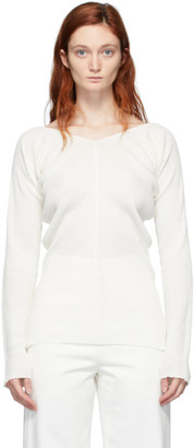Low Classic White Rib Knit V-Neck Sweater