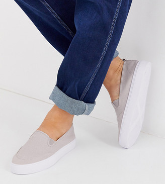 Dexter Asos Design ASOS DESIGN Wide Fit slip on plimsolls in grey