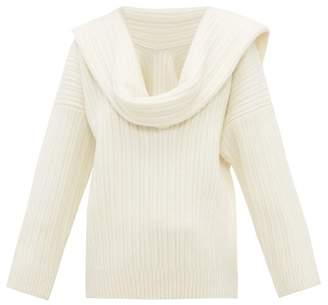Jacquemus Draped Sleeve Virgin Wool Blend Sweater - Womens - Ivory