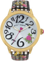 Betsey Johnson Women's Rose Gingham Printed Black and White Strap Watch 44mm BJ00357-22