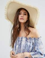 Glamorous Straw Floppy Sun Hat with Frayed Edge