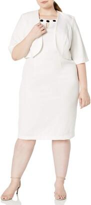Maya Brooke Women's Plus Size Placed Floral Jacket Dress