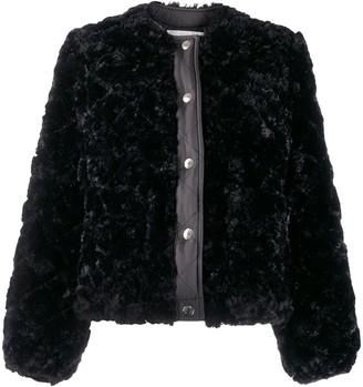 MACKINTOSH KEISS Black Eco Fur Quilted Collarless Jacket   LQ-1008