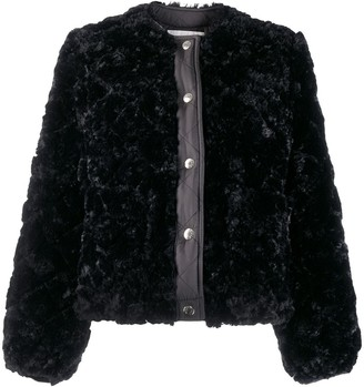 MACKINTOSH KEISS Black Eco Fur Quilted Collarless Jacket | LQ-1008