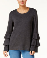 Style&Co. Style & Co Scoop-Neck Tiered-Sleeve Sweatshirt, Created for Macy's