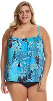 Penbrooke Plus Size Shell A GoGo Pleat Neck Tankini Top - 8150466