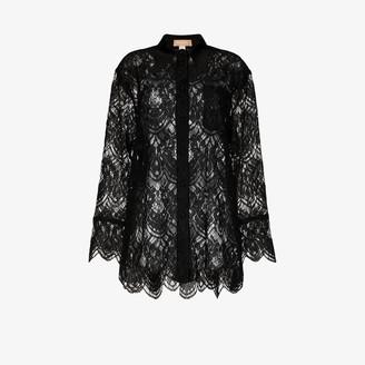 MATÉRIEL Floral Lace Silk Shirt