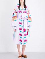 Yuliya Magdych Cherry embroidered linen midi kaftan