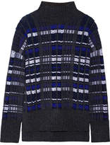 3.1 Phillip Lim Checked Knitted Turtleneck Sweater - Navy