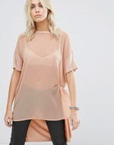 Noisy May Knot Front Sheer Tunic