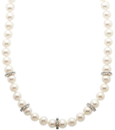 Lord & Taylor Sterling Silver, Fresh Water Pearl & White Topaz Necklace