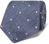 Etro 8cm Polka-dot Herringbone Linen And Silk-blend Tie
