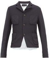 Comme des Garcons Ruffled Poplin-trim Tailored Jacket - Womens - Navy