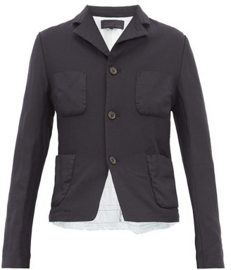 Comme des Garcons Ruffled Poplin-trim Tailored Jacket - Womens - Navy