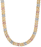 Macy's Tri-Color Butterfly Link Collar Necklace in 10k Gold, White Gold & Rose Gold