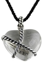 David Yurman Sterling Silver Cable Clear Heart Charm
