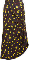 Marni Asymmetric Printed Crepe Midi Skirt - Yellow