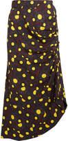 Marni Asymmetric Printed Crepe Midi Skirt - Yellow