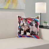 Two Cocker Spaniel Dogs on Mexican Blanket Pillow Cover East Urban Home