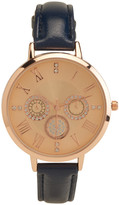 Thin Faux Leather Faux Gem Analog Watch