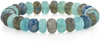 Sheryl Lowe 10mm Mixed Bead & Diamond Donut Bracelet