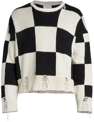 Rhude Checkerboard Disstressed Sweater