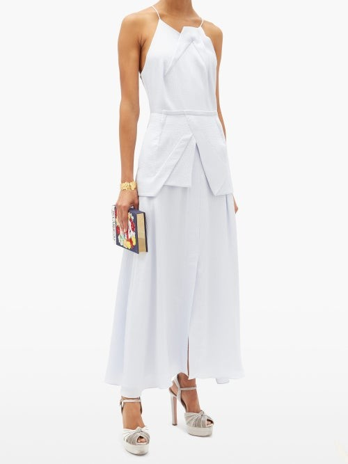 Thumbnail for your product : Roland Mouret Chora Hammered Silk-satin Dress - Light Blue