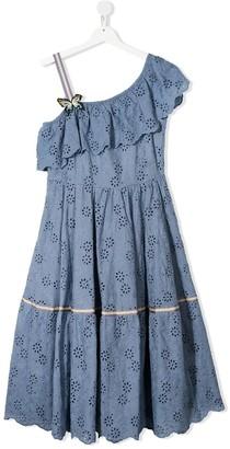 MonnaLisa TEEN one-shoulder embroidered dress