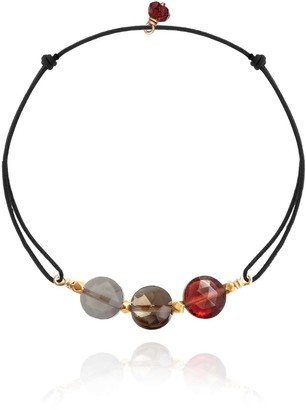 Perle de Lune Gem Trio Cord Bracelet Grey Moonstone, Smoky Quartz, Red Garnet