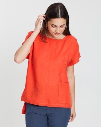 Privilege Women's Orange Short Sleeve Tops - Slouch Pocket Top - Size One Size, 8 at The Iconic