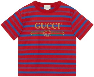 Gucci Children's striped T-shirt with logo