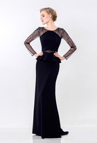 Terani Couture Ornate Crepe Mesh Sheath Gown 1522M0655B