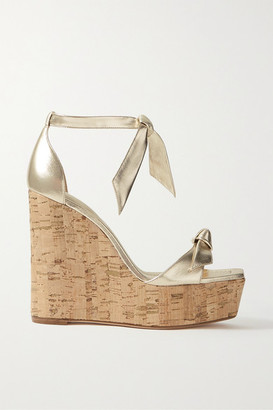 Alexandre Birman Clarita Bow-embellished Metallic Leather Wedge Sandals - Gold