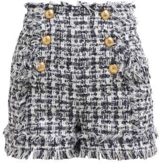 Balmain High Rise Tweed Shorts - Womens - Navy White