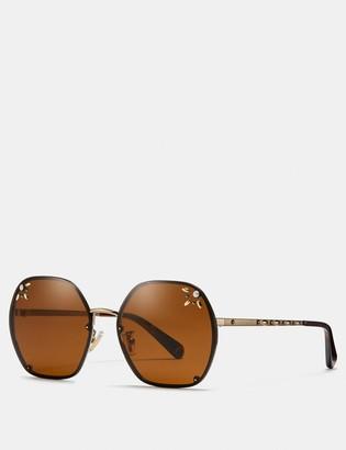 Coach Prairie Rivets Hexagon Sunglasses