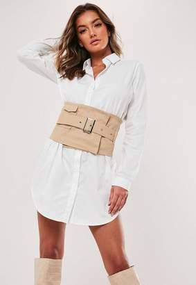 Missguided White Poplin Shirt Dress With Utility Belt