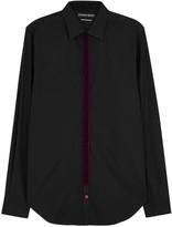 Alexander Mcqueen Black Velvet-trimmed Poplin Shirt
