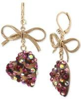Betsey Johnson Gold-Tone Stone Heart & Ribbon Drop Earrings