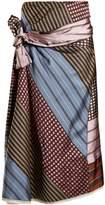Marni Waist-tie contrasting-print twill skirt