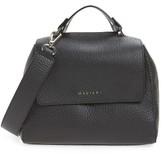 Orciani Double Leather Top Handle Satchel - Black