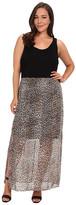 Vince Camuto Plus Plus Size Chiffon Overlay Des Leopard Maxi Dress
