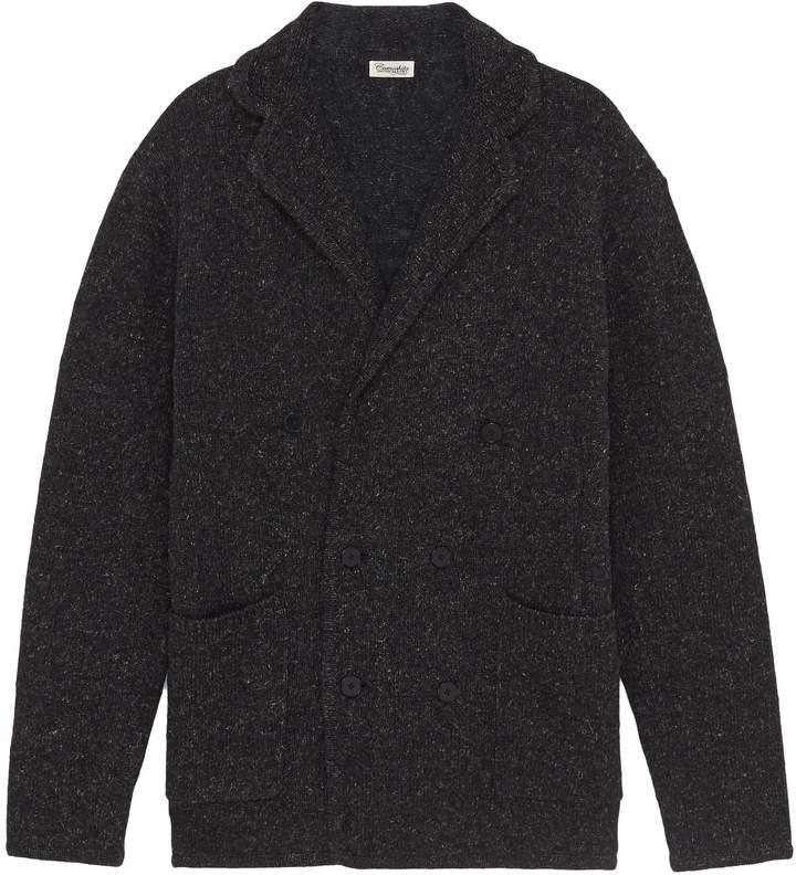 Camoshita Notched lapel wool blend cardigan