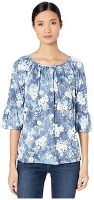 MICHAEL Michael Kors Bleached Floral Gathered Peasant (Chambray) Women's T Shirt