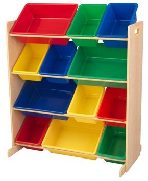 Kid Kraft Sort It & Store It Bin Unit - Primary & Natural