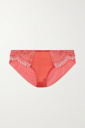 KATHERINE HAMILTON Mariella Lace, Stretch-tulle And Satin Briefs - Coral