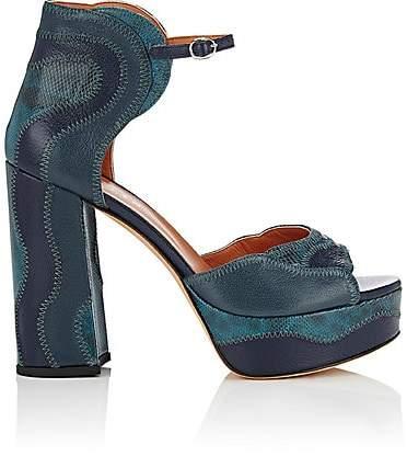 Derek Lam Women's Kimble Leather & Snakeskin Platform Sandals - Marine Blue
