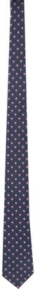 Gucci Navy and Pink Silk GG Flowers Tie
