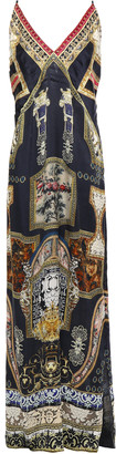 Camilla Chiffon-paneled Embellished Printed Silk-satin Maxi Slip Dress