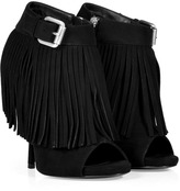 Giuseppe Zanotti Black Suede Fringed Open Toe Booties